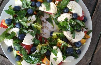 Letní salát s mozzarellou a ovocem