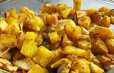 Pečené kari brambory